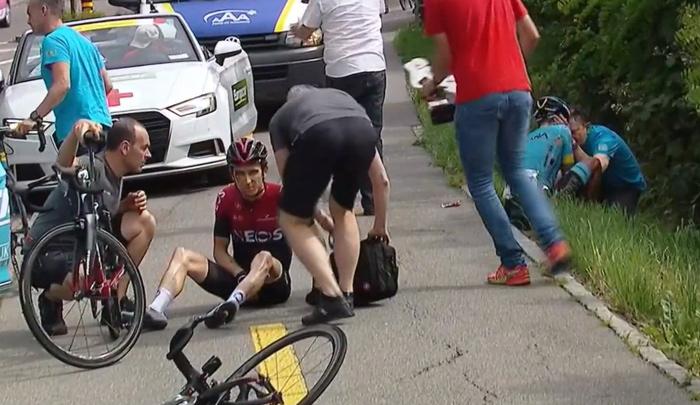 Geraint Thomas se cae y ve peligrar el Tour