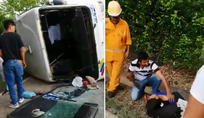Grave accidente de buseta de Trasan en la vía a Puerto Santander - La Opinión Cúcuta