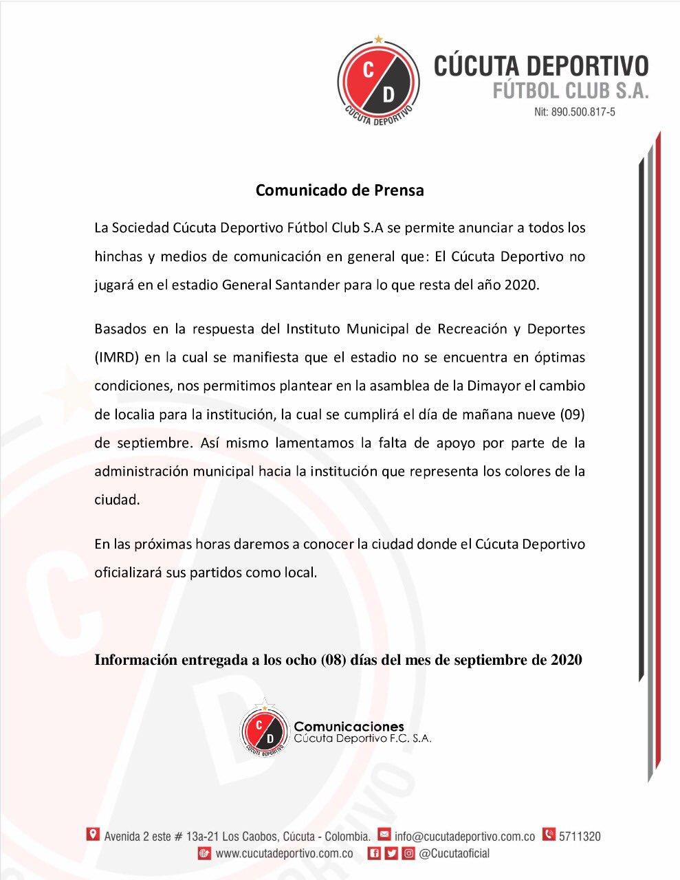 Cucuta Deportivo No Jugara En El General Santander Por Lo Que Resta Del 2020